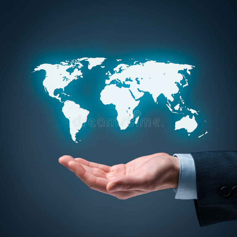 Global market. Businessman offer map of the world representing global market and globalization royalty free stock image