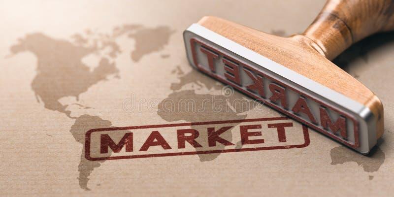 Global marknad, internationell näringslivsutveckling eller globaliseringbegrepp vektor illustrationer