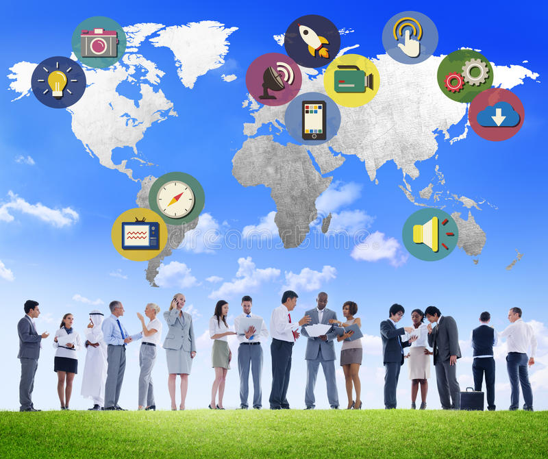 Global Media Social Media International Connection Concept royalty free stock images