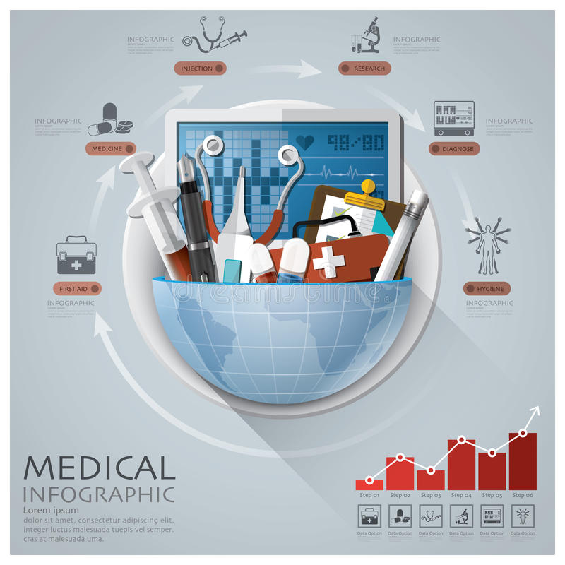 Global Medical And Health Infographic With Round Circle Diagram stock illustration