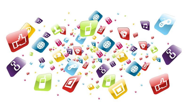 Global mobile phone apps icons splash. Iphone application icons explotion on white background. Vector file layered for easy manipulation and customisation