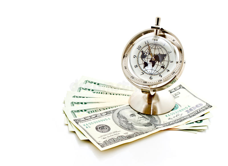 Global Model Clock With US Banknotes 3 Royalty Free Stock Photos