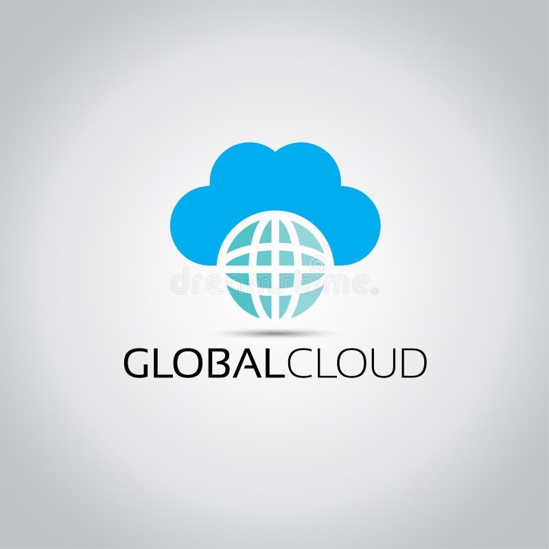 Global molnvärldslogo stock illustrationer
