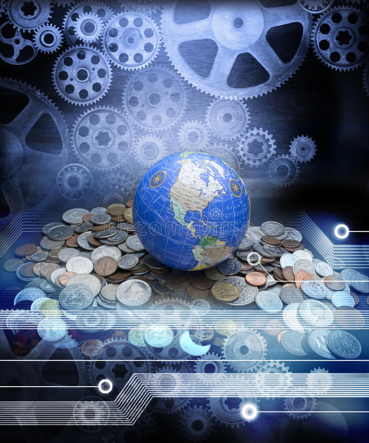 Global Money Business Economy Globalisation. A conceptual image depicting the global economy with money cogs and the internet