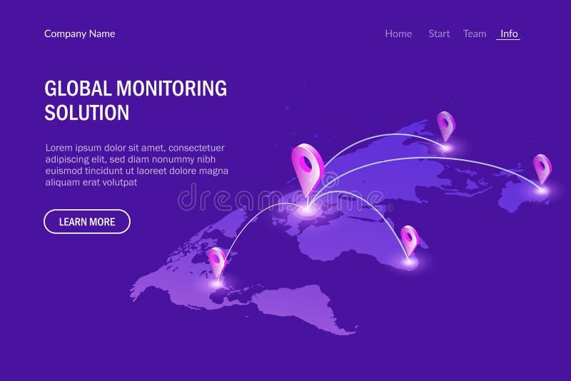 Global monitoring system. Global communications. Virtual world map. Modern vector illustration isometric style. vector illustration