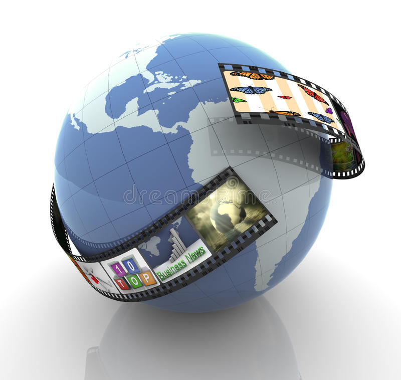 Global multimedia production stock illustration
