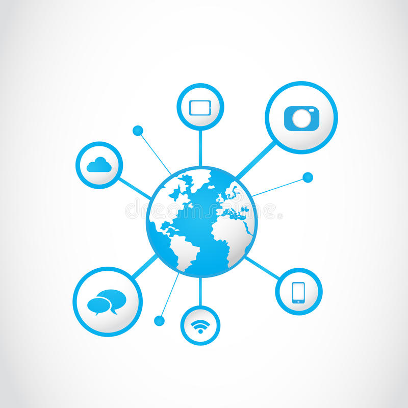 Global multimedia technology icons concept stock illustration
