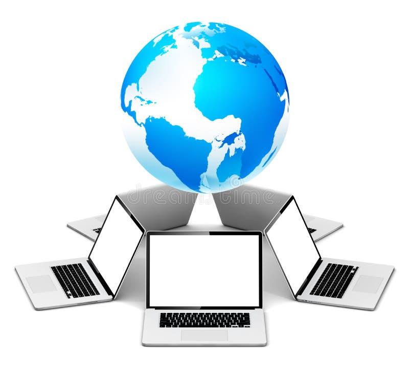 Global nätverkande med bärbara datorn vektor illustrationer