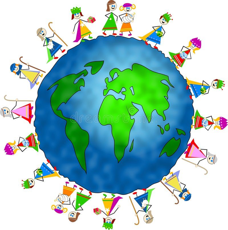 Global nativity kids vector illustration