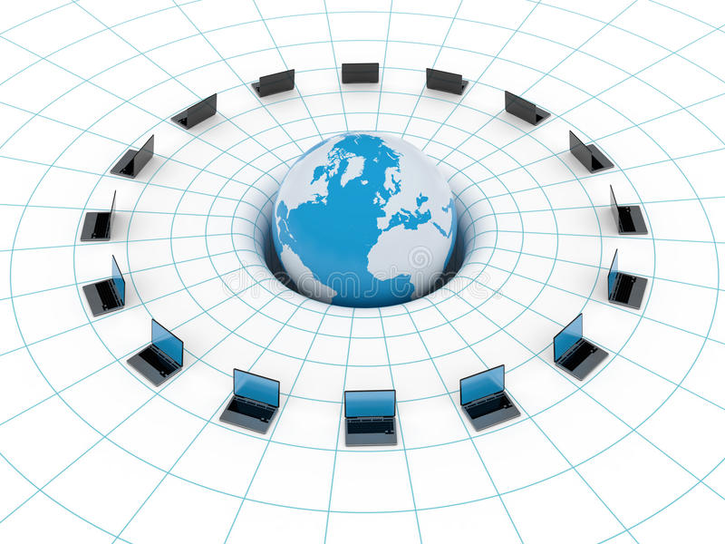 Global network. With globe and laptops stock illustration
