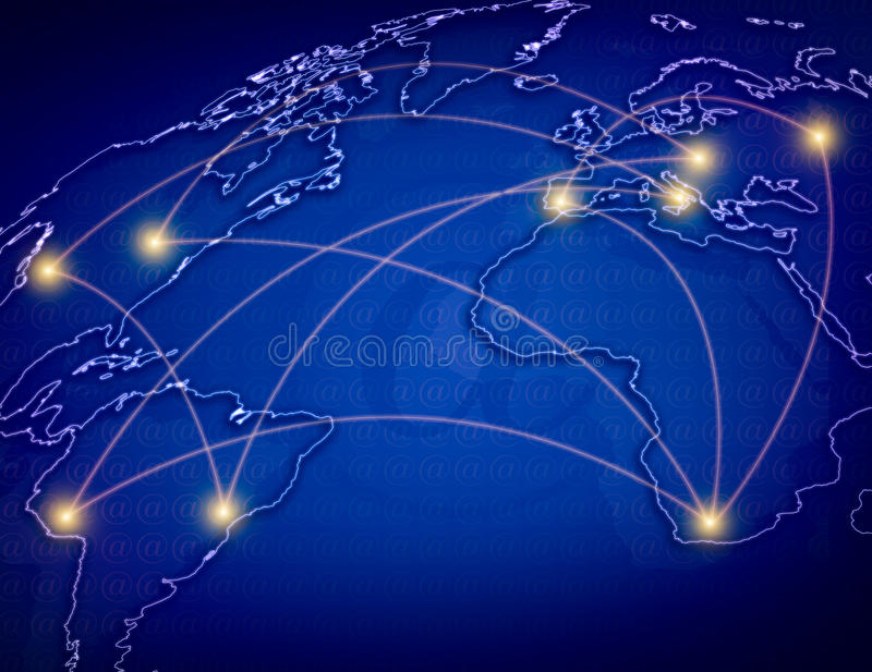 Global Network. The blue map of the world , concept picture Global telecommunications network stock illustration