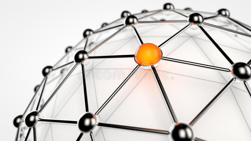 Global Network. Represented as balls and connections around a sphere royalty free illustration