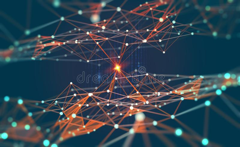 Global network. Blockchain. 3D illustration. Neural networks and artificial intelligence. Abstract technological background stock illustration