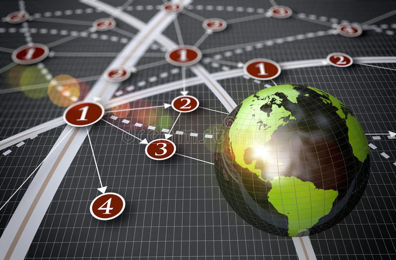 Global network. Global business network as a concept stock illustration