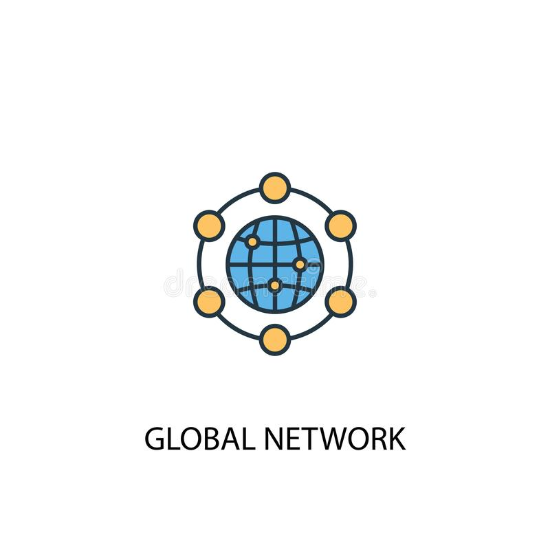 Global network concept 2 colored line. Icon. Simple yellow and blue element illustration. global stock illustration