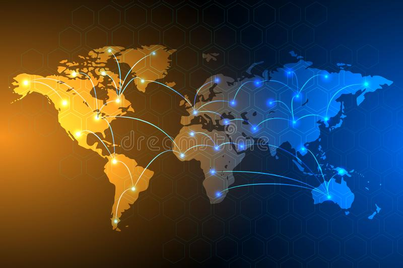 Global network connection background, vector stock illustration