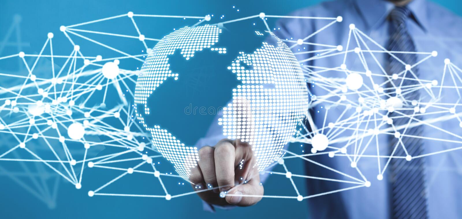 Global network connection. Concept of global business and internet stock illustration