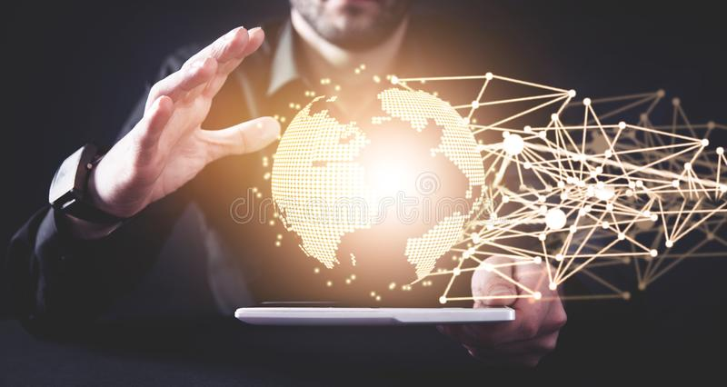 Global network connection. Concept of global business and internet stock photo