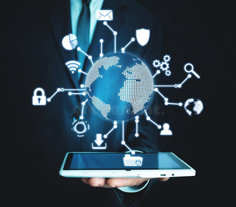 Global network connection. Modern world technology stock photo