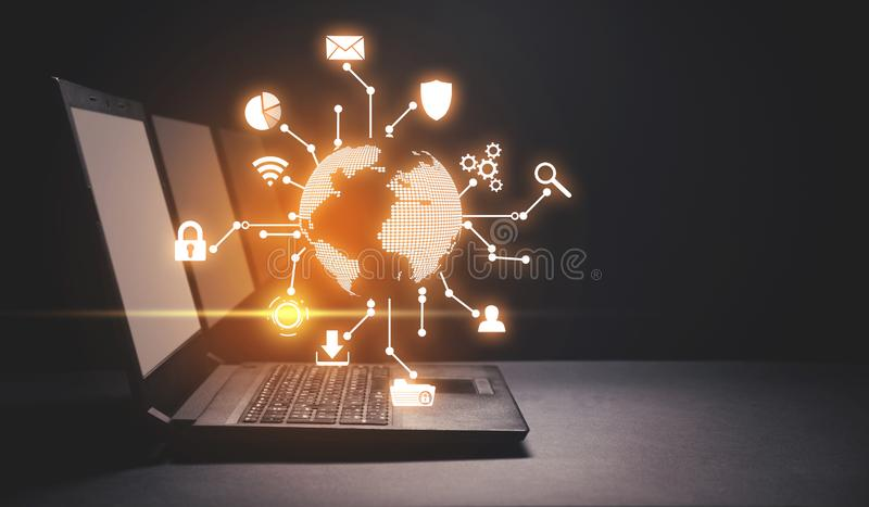 Global network connection. Modern world technology stock image