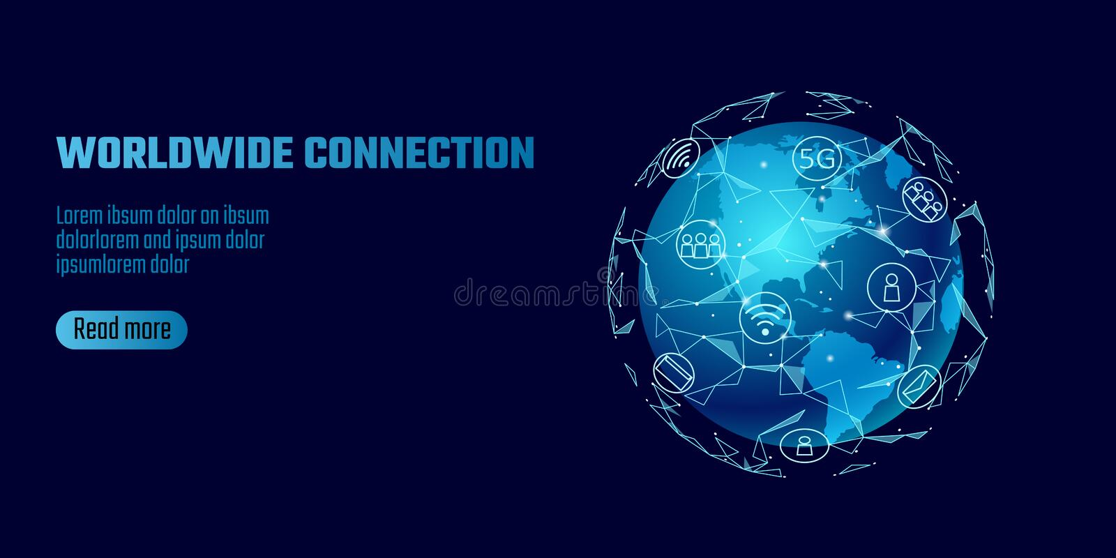 Global network connection. World map America continent point line worldwide information technology dat exchange business. Planet Earth space low poly polygonal royalty free illustration