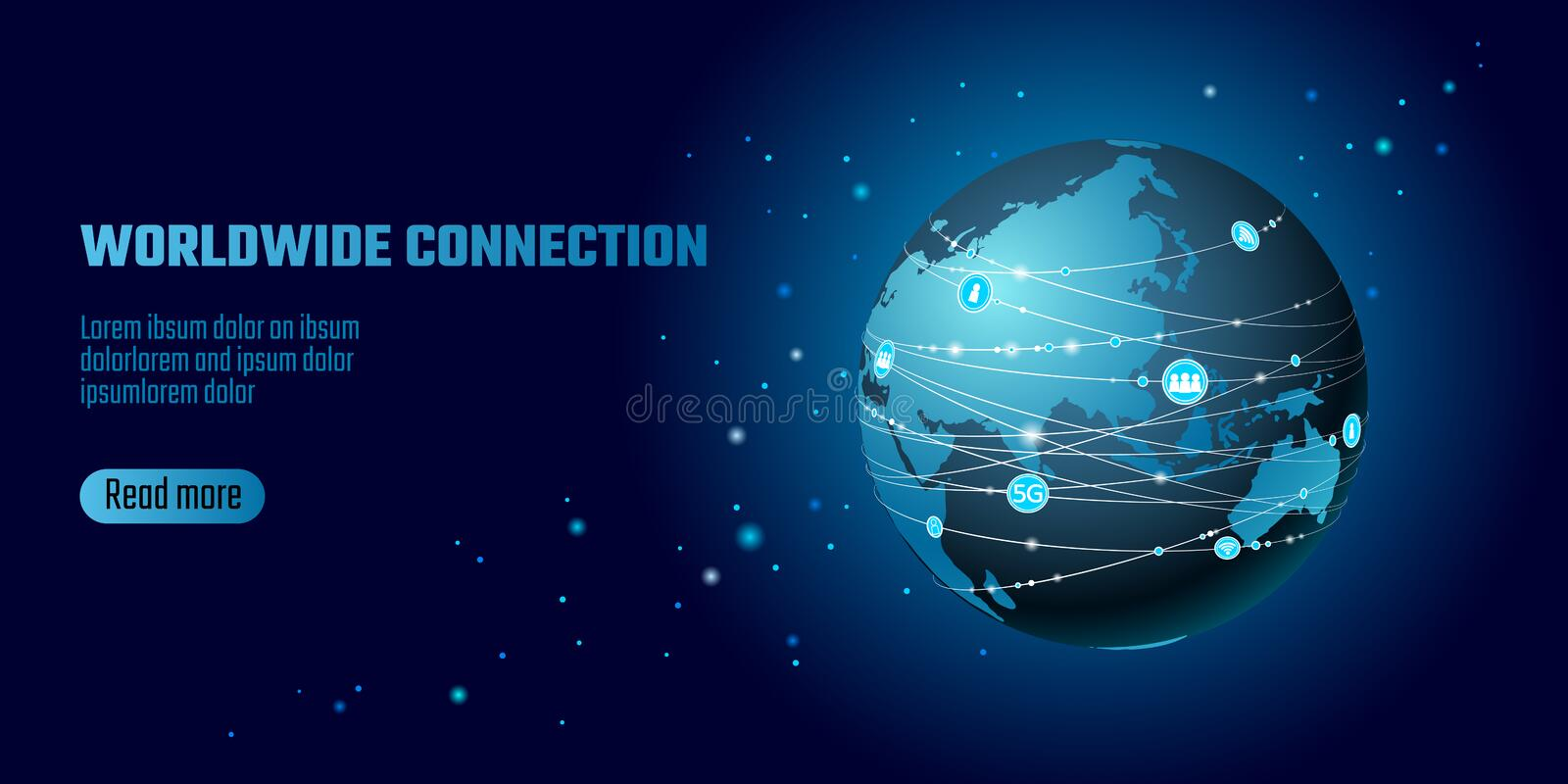 Global network connection. World map Asia continent point line worldwide information technology dat exchange business royalty free illustration