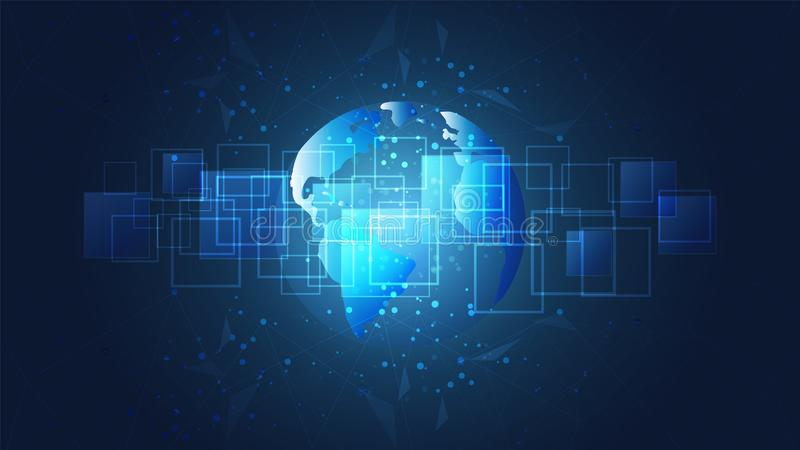 Global network connection, World map and digital circuit boards background. royalty free illustration