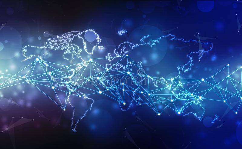 Global network connection. World map point and line composition concept of global business. Technology Digital Background stock images