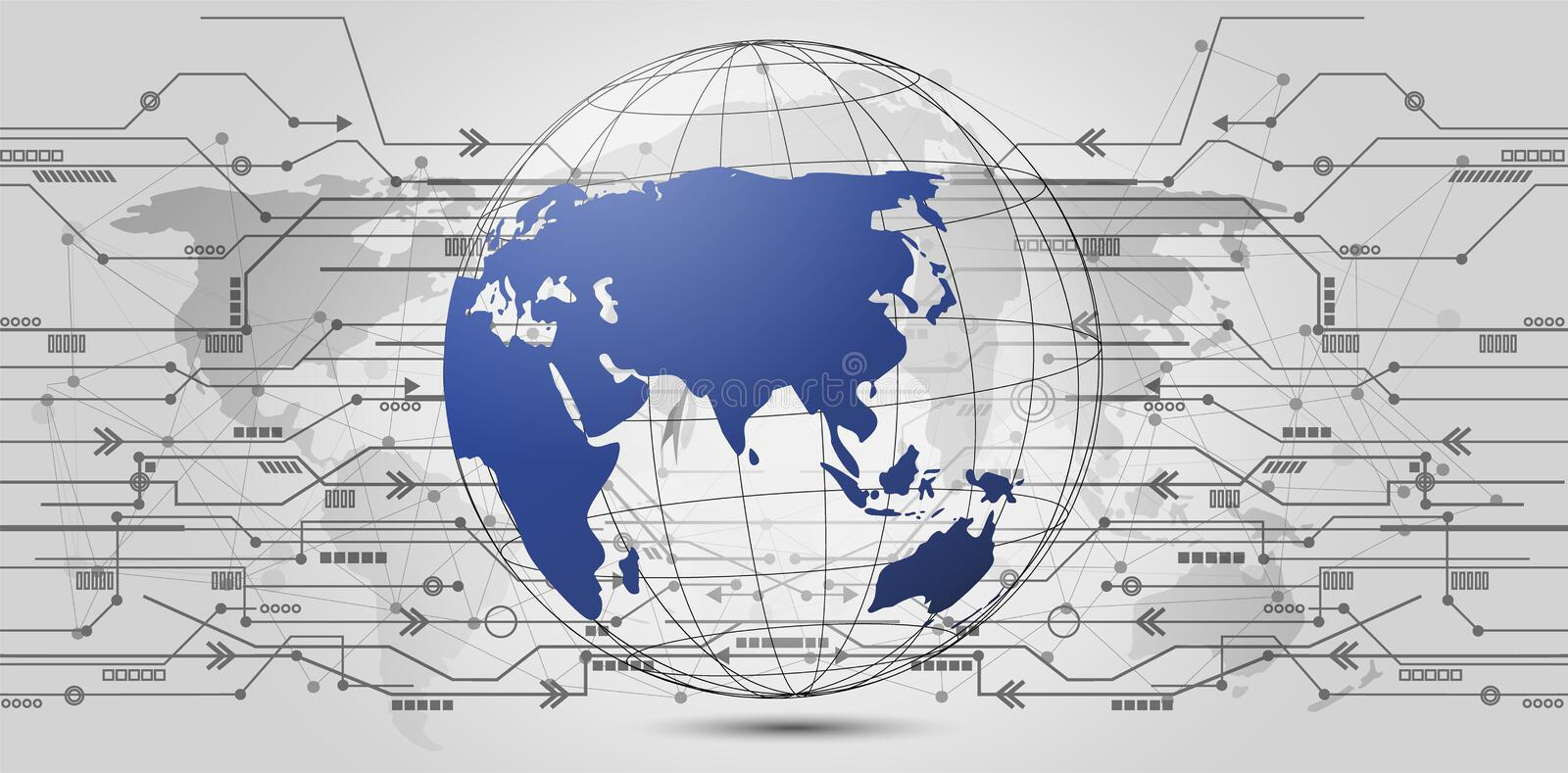 Global network connection. World map point and line composition. Concept of global business. Vector Illustration stock illustration