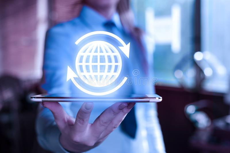 Global network connection. World Technology map point and line composition concept of global business.  stock photo