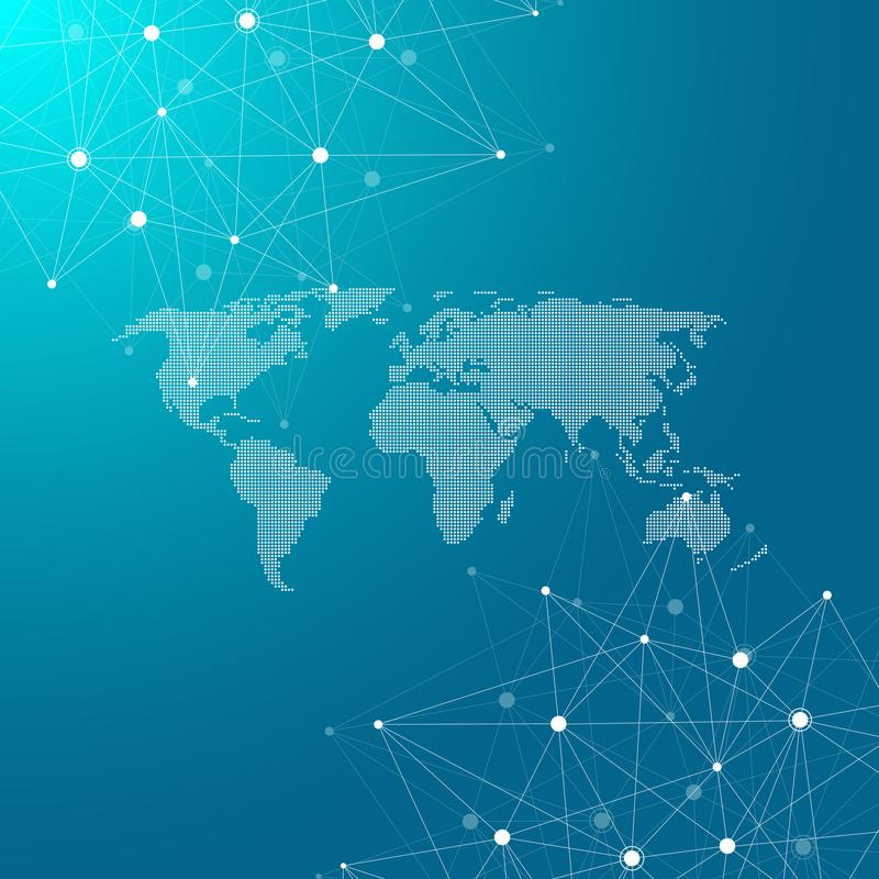 Global network connections with dotted world map. Internet connection background. Abstract connection structure royalty free illustration