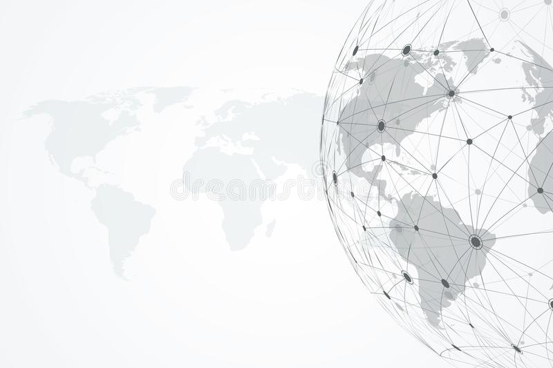Global network connections with dynamic points and lines. Internet connection background with world map. Abstract stock illustration