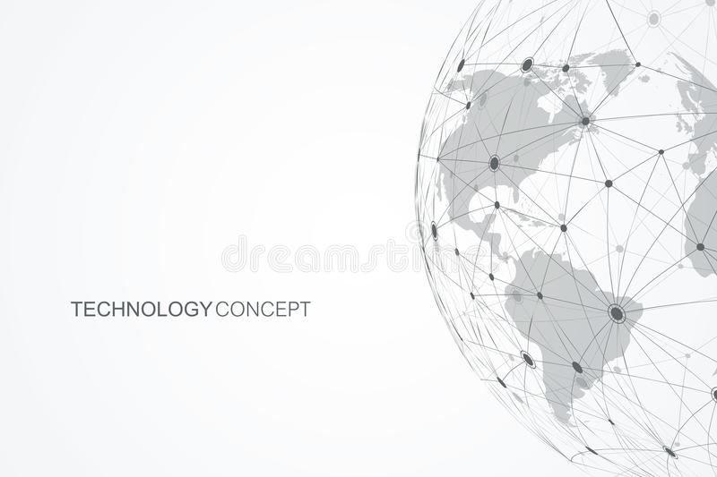 Global network connections with points and lines. Internet connection background. Abstract connection structure royalty free illustration