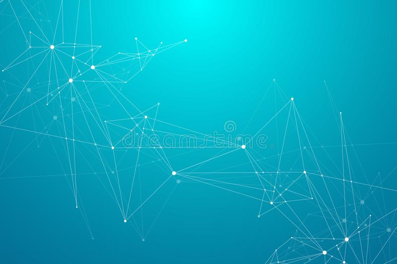 Global network connections with points and lines. Wireframe background. Abstract connection structure. Polygonal space stock illustration