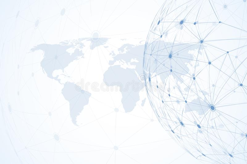 Global network connections with world map. Internet connection background. Abstract connection structure. Polygonal royalty free illustration
