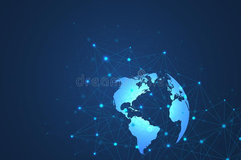 Global network connections with world map. Internet connection background. Abstract connection structure. Polygonal. Space background. Vector illustration vector illustration