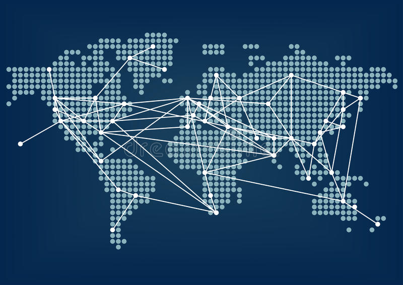 Global network connectivity represented by dark blue world map with connected lines vector illustration