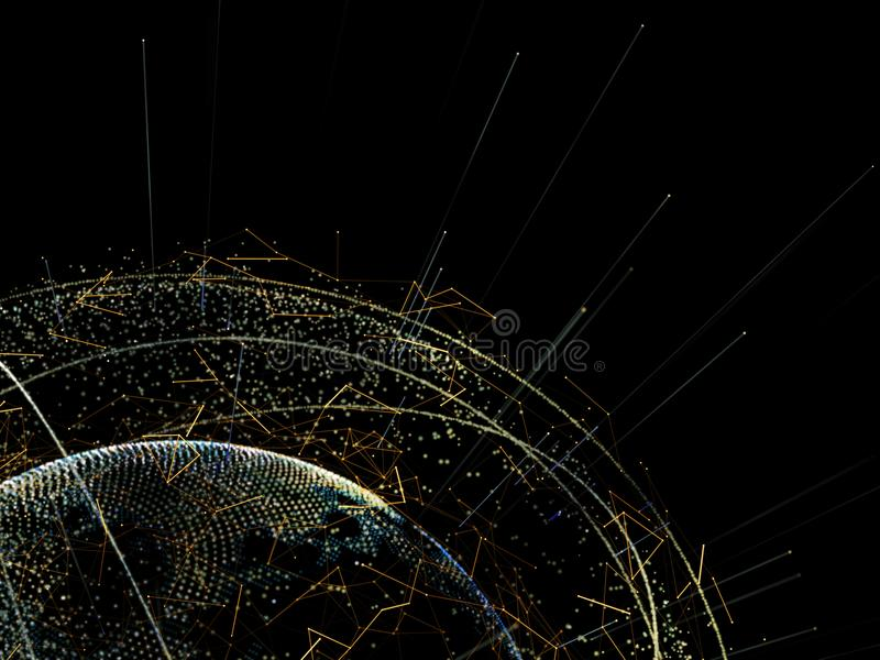 Global network and datas exchanges over the Earth. Global network and datas exchanges over the planet Earth. 3D rendering stock illustration