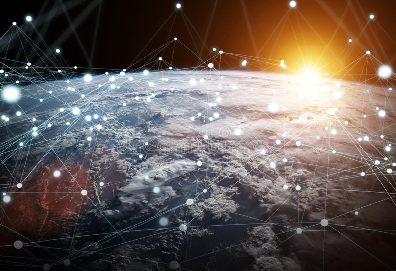 Global network and datas exchanges over the planet Earth 3D rend. Ering elements of this image furnished by NASA vector illustration