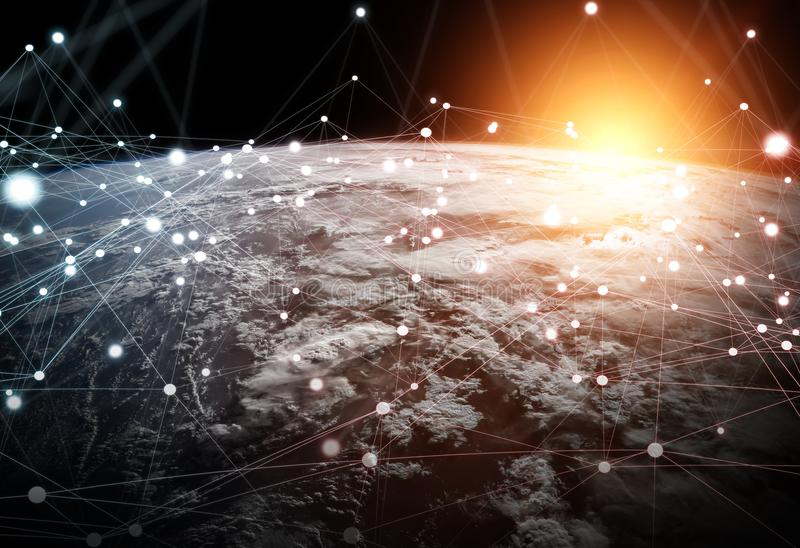 Global network and datas exchanges over the planet Earth 3D rend. Ering elements of this image furnished by NASA royalty free illustration