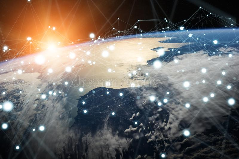 Global network and datas exchanges over the planet Earth 3D rend. Ering elements of this image furnished by NASA stock illustration