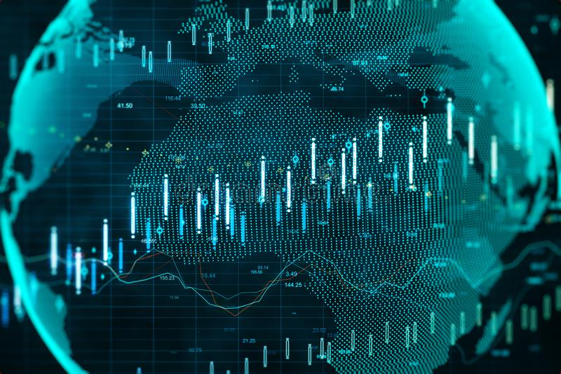 Global network and finance concept. Creative digital globe with forex chart. Global network and finance concept. 3D Rendering royalty free stock photo