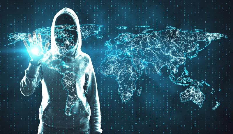 Global network and hacking concept. Hacker using glowing polygonal map on grid binary code background. Global network and hacking concept. Double exposure stock photos