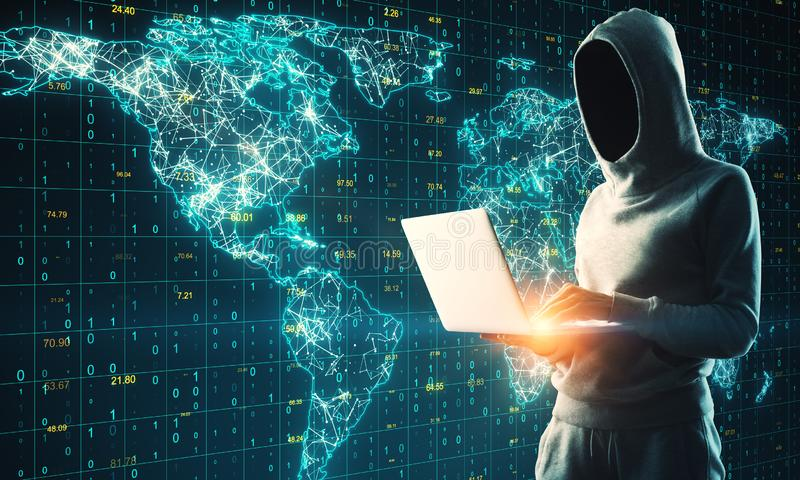 Global network and hacking concept. Hacker using laptop with glowing polygonal map on grid binary code background. Global network and hacking concept royalty free stock photography