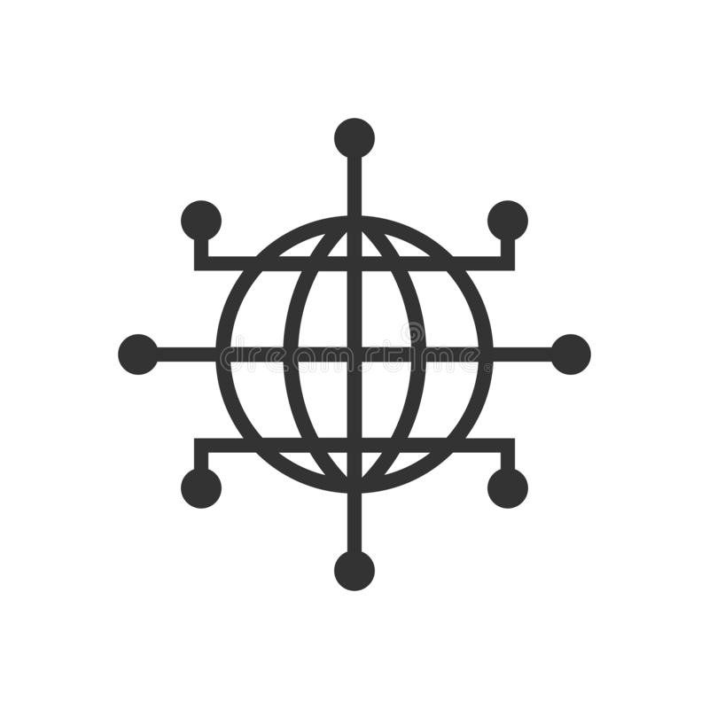 Global network icon in flat style. Cyber world vector illustration on white isolated background. Earth business concept stock illustration