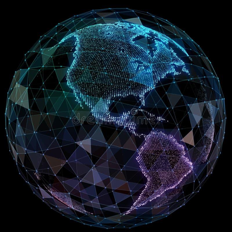 Global network internet technologies. Digital world map.  stock illustration