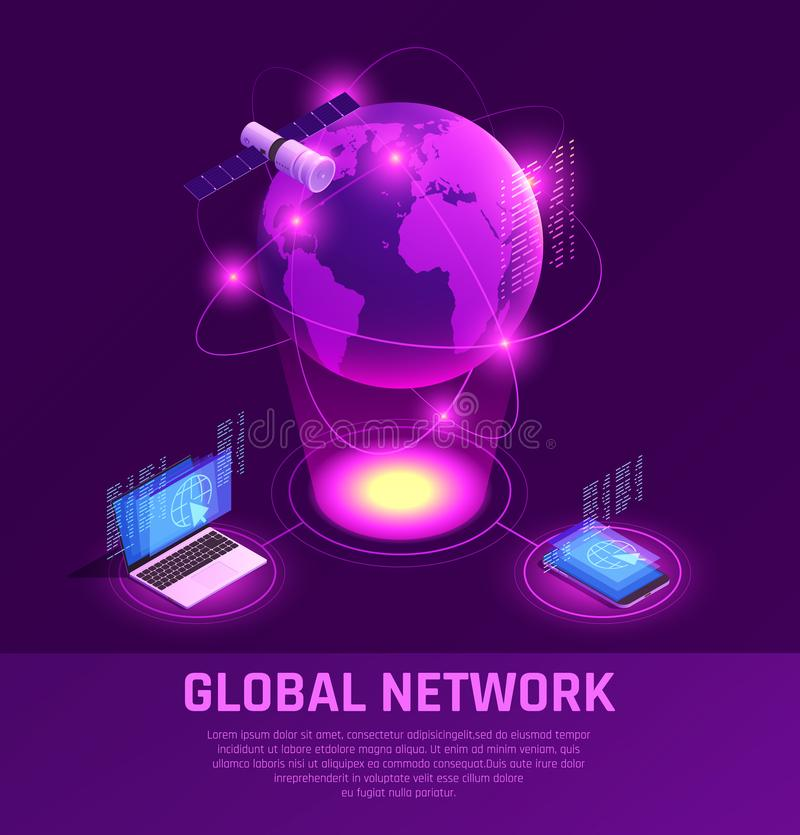 Global Network Isometric Glowing Composition. With mobile devices and satellite internet on purple background vector illustration royalty free illustration