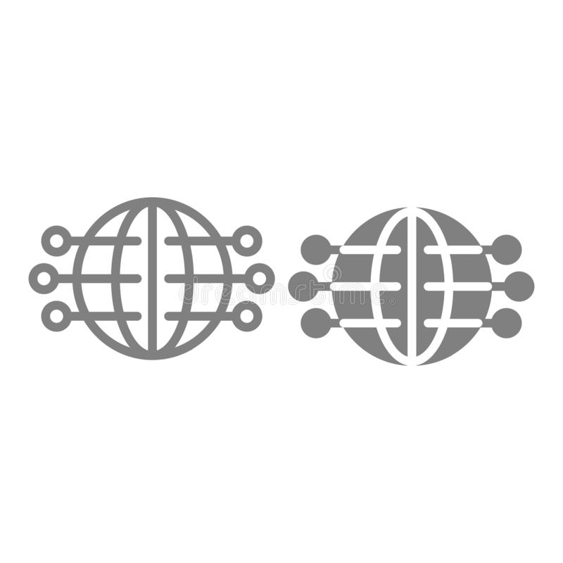 Global network line and glyph icon. Globe with pins vector illustration isolated on white. Worldwide internet outline vector illustration