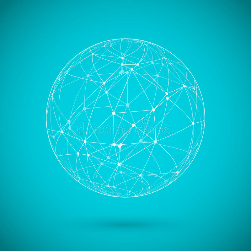 Free Global Network Lines With Dots Connection Vector Background Stock Image - 42942301