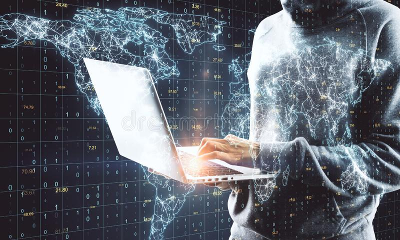 Global network and malware concept. Hacker using laptop with glowing polygonal map on grid binary code background. Global network and malware concept. Double royalty free stock images